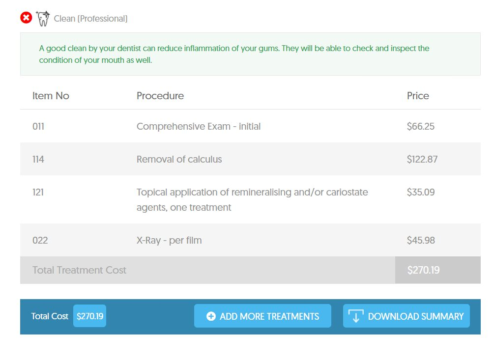 The dental cost summary on the Dental Aware calculator