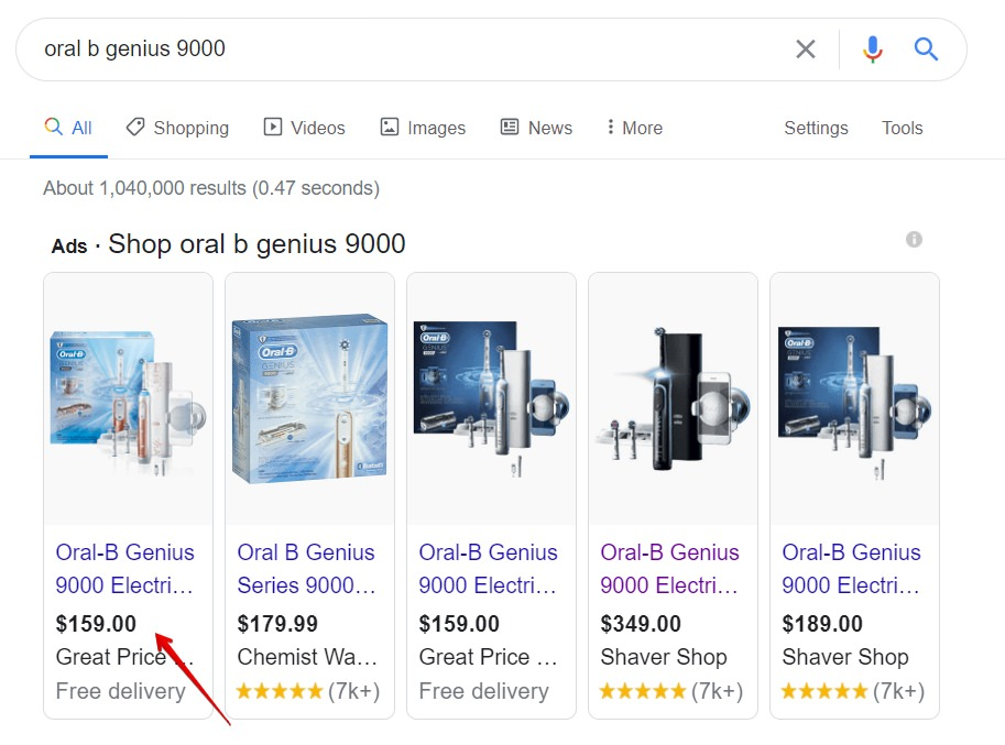 The average price on google search for oral b genius 9000