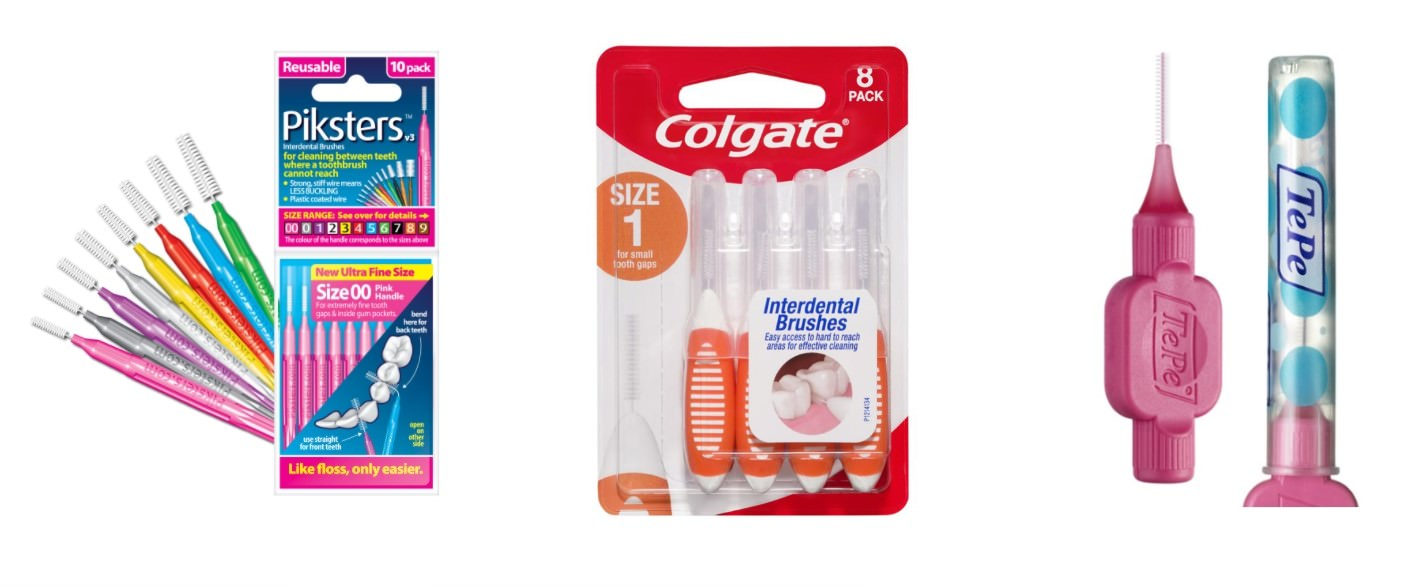 3 different brands of Interdental Brushes