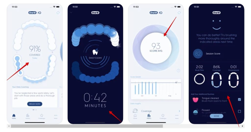 Snapshot of the features of the Oral B app