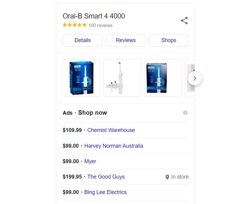 A list of some of the places to purchase a Smart 4000 Electric toothbrush on google shopping