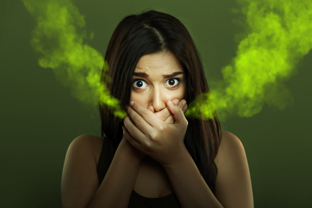 A lady representing a person with bad breath