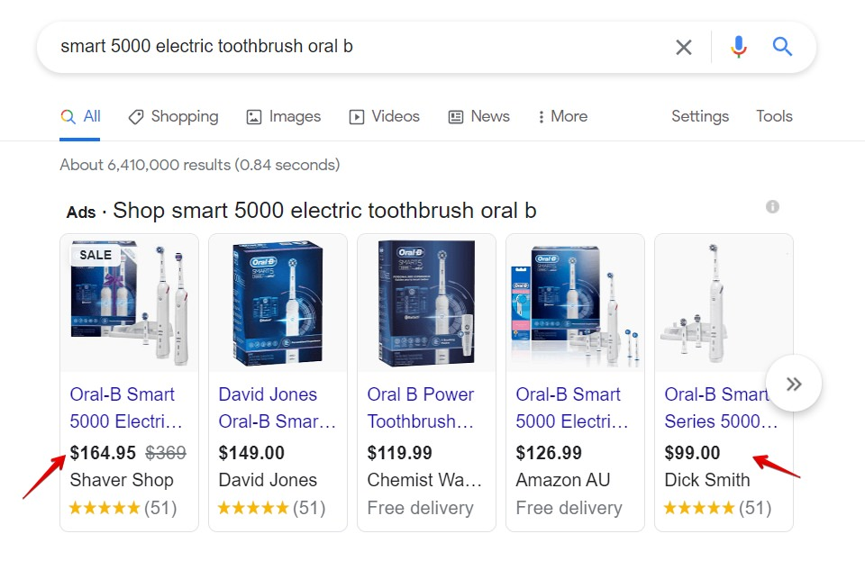 Prices on Google of the Smart 500 Electric Toothbrush
