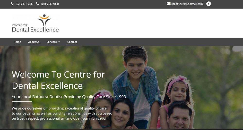 Bathurst dentist centre for dental excellence homepage screenshot