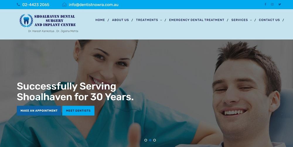 Shoalhaven dental surgery and implant centre website screenshot dental aware