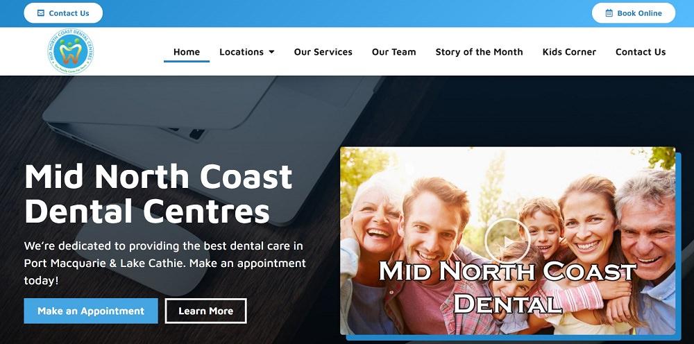 Mid North Coast Dental Centres website screenshot dental aware