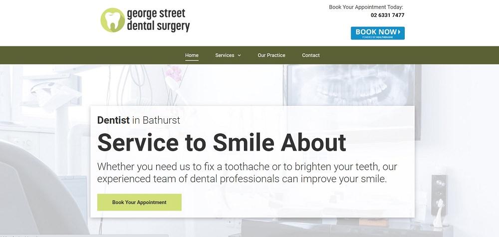 George Street Dentist Bathurst homepage screeshot