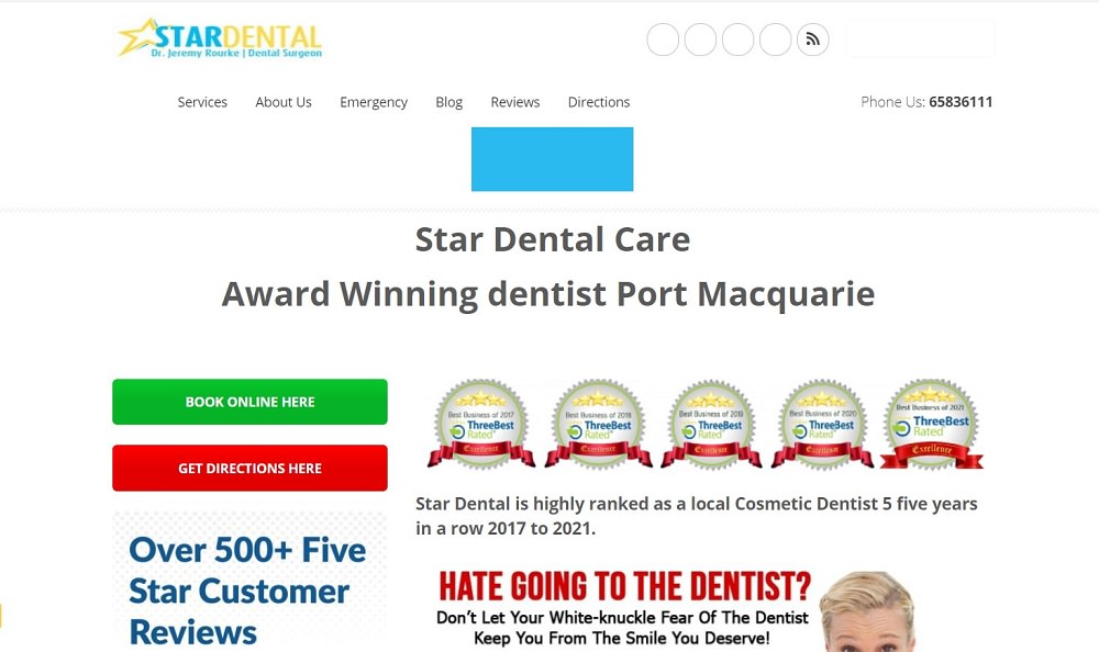 Star dental in Port Macquarie screenshot homepage