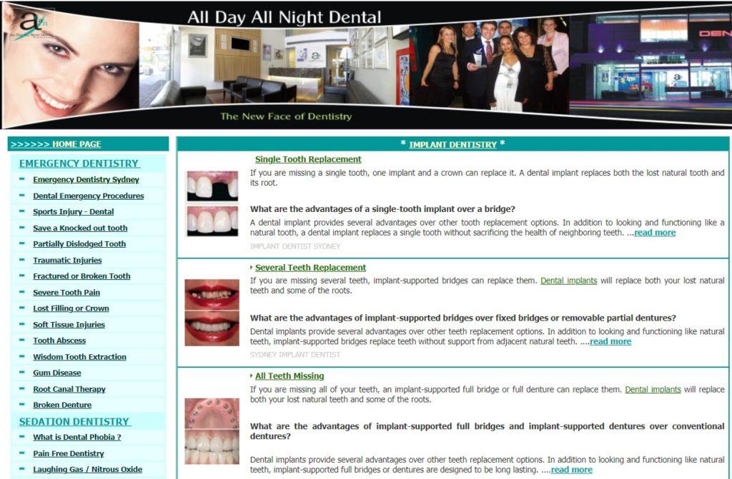 All day all night dental website screenshot