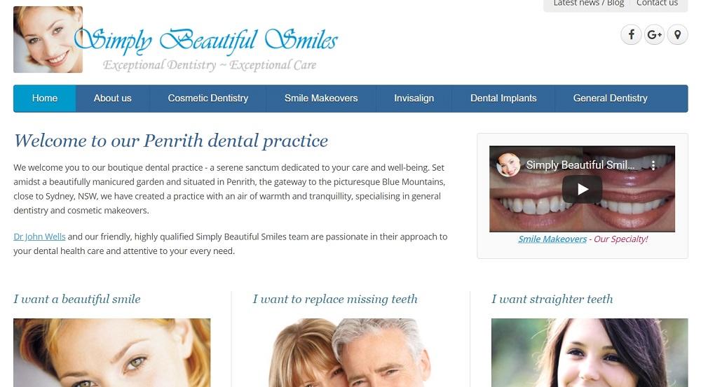 Simply Beautiful Smiles website screenshot