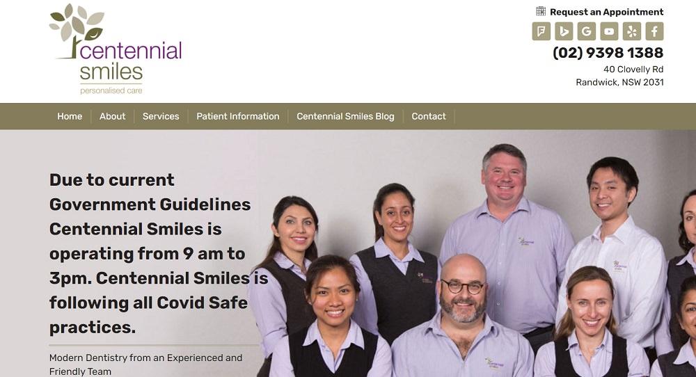 Centennial Smiles webiste screenshot