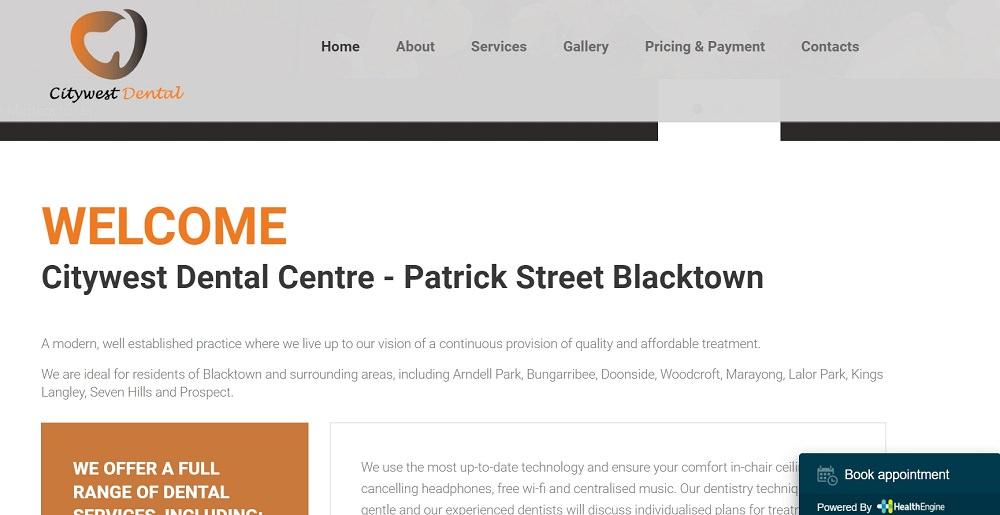Citywest Dental Centre website screenshot