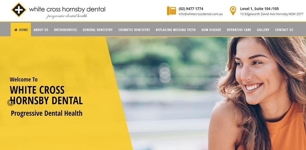 White Cross Hornsby Dental website screenshot