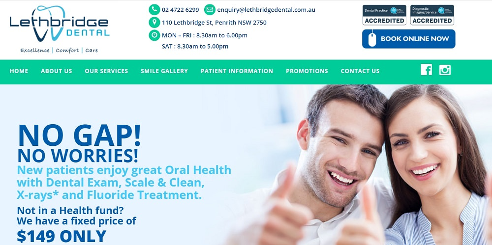 Lethbridge Dental screenshot of their website