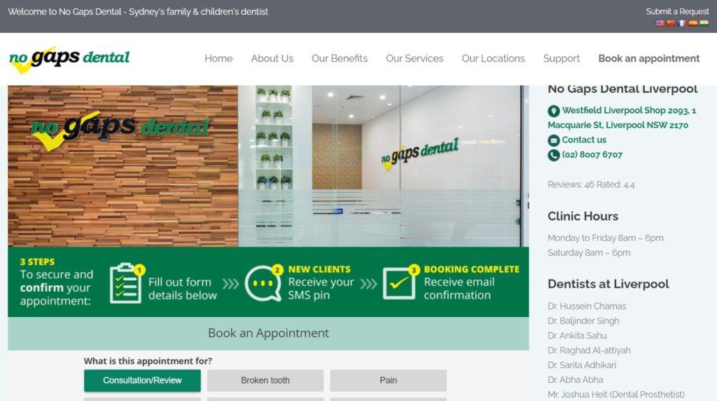 No Gaps Dental Liverpool website screenshot