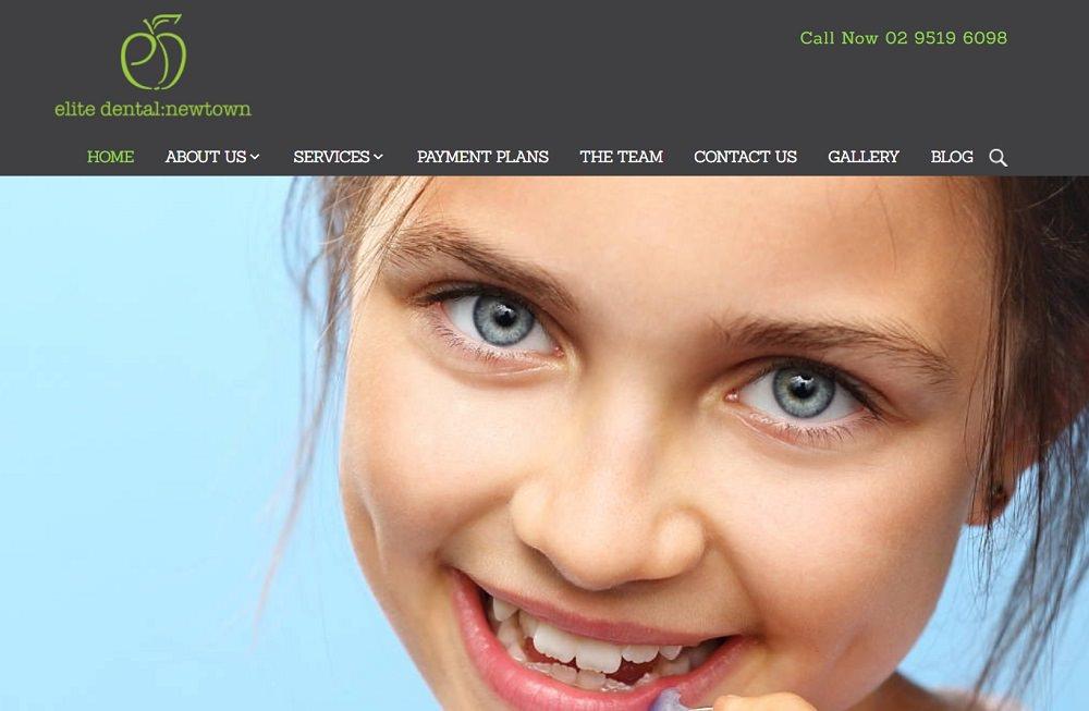 Newtown Elite Dental website screenshot