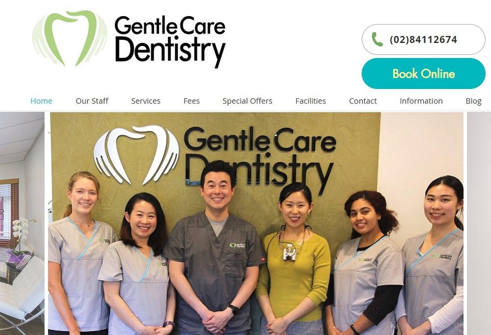 Gentle Care Dentistry website screenshot