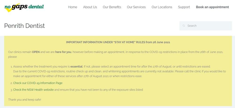 No Gaps Dental Penrith website screenshot