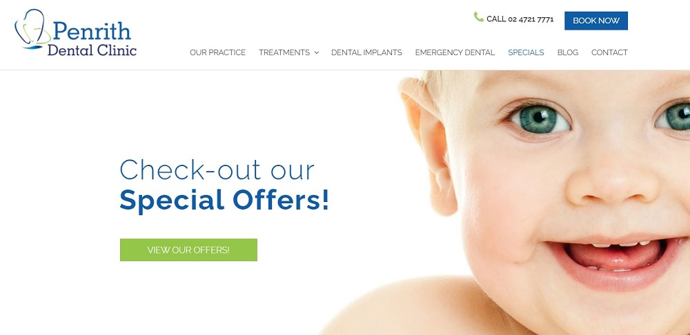 Penrith dental clinic website screenshot