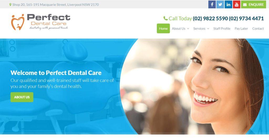 Perfect Dental Care website screenshot