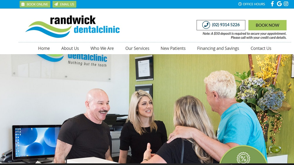 Randwick dental clinic website screenshot