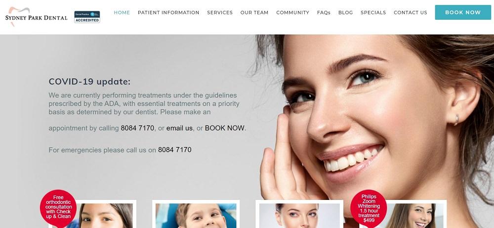Sydney Park Dental website screenshot