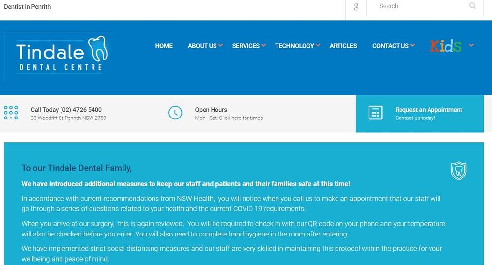 Tindale Dental centre website screenshot