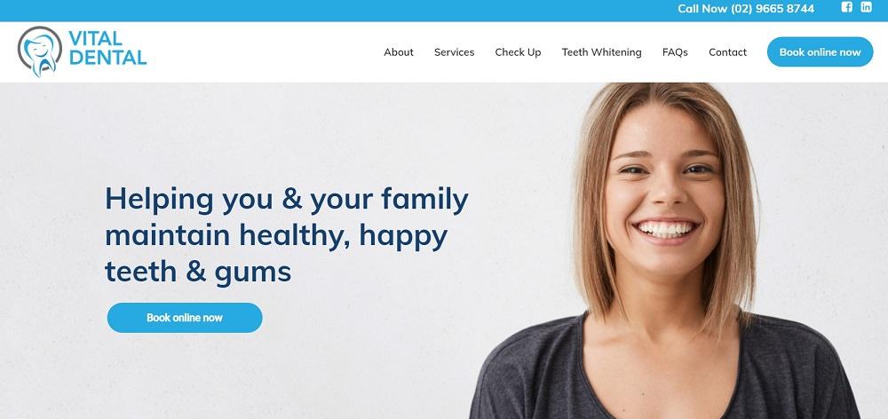 Vital Dental Randwick website screenshot