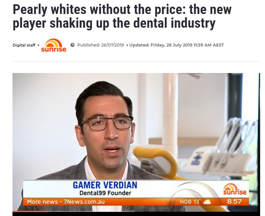 7 News interview with co-founder of dental 99